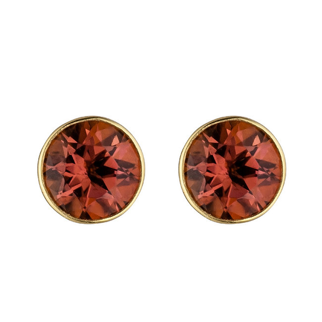Gold earstuds 14 carat (585) with 2 tourmalines