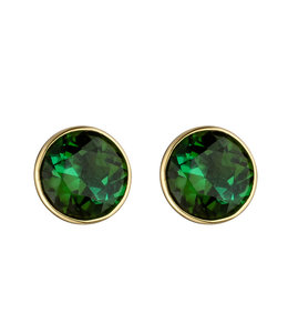 JOBO Gold stud earrings with 2 green tourmalines