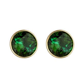 Aurora Patina Gouden oorknopjes met 2 groene toermalijnen