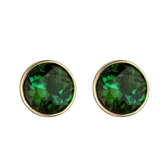 Gouden oorknopjes 14 karaat (585) met 2 groene toermalijnen