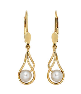 Aurora Patina Golden earrings with round freshwater pearls
