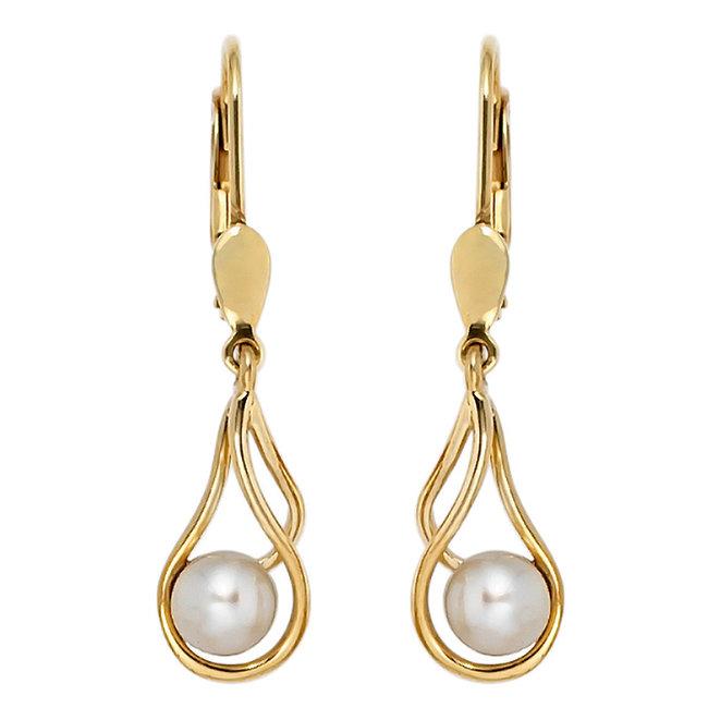 Aurora Patina Goldene Ohrringe mit runden Süßwasserperlen