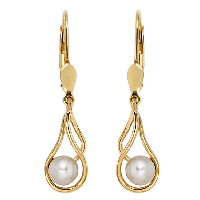 Gold earrings 14 carat (585)  with round freshwater pearls