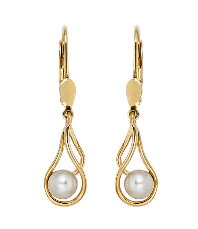JOBO Gouden oorbellen 14 karaat (585) met ronde zoetwaterparels