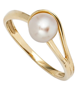 Aurora Patina Gold ring with freshwater pearl