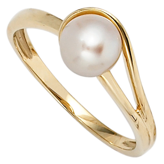 Gold ring 14 ct (585) with freshwater pearl