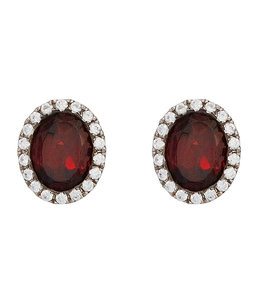JOBO Silver earring studs garnet and zirconia