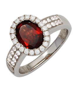 JOBO Silver ring garnet and zirconia