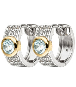 JOBO Silver earrings creoles with blue topaz and zirconias