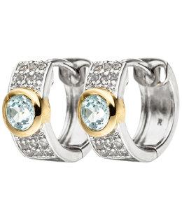 JOBO Zilveren oorbellen creolen met blauwtopaas en zirkonia's