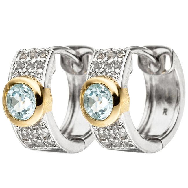 Creool oorbellen in 925 sterling zilver met blauwtopaas en zirkonia's