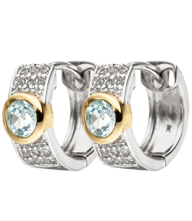 Aurora Patina Ohrringe Silbercreolen 925 Sterlingsilber mit Blautopase und Zirkonia