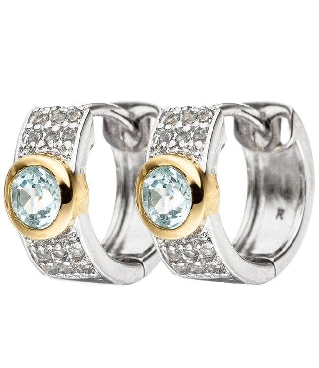 JOBO Hoop earrings in 925 sterling silver with blue topaz and zirconias