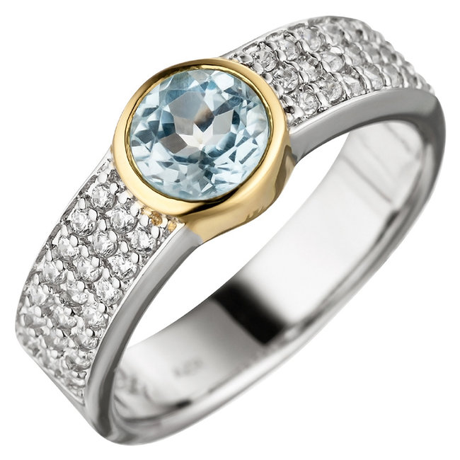 Silver ring (925) with blue topaz and zirconias