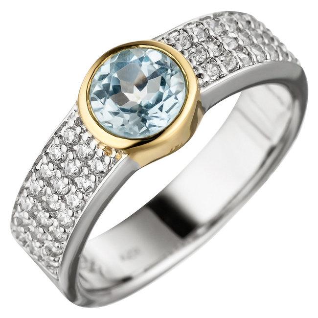 Zilveren ring (925) met blauwtopaas en zirkonia's