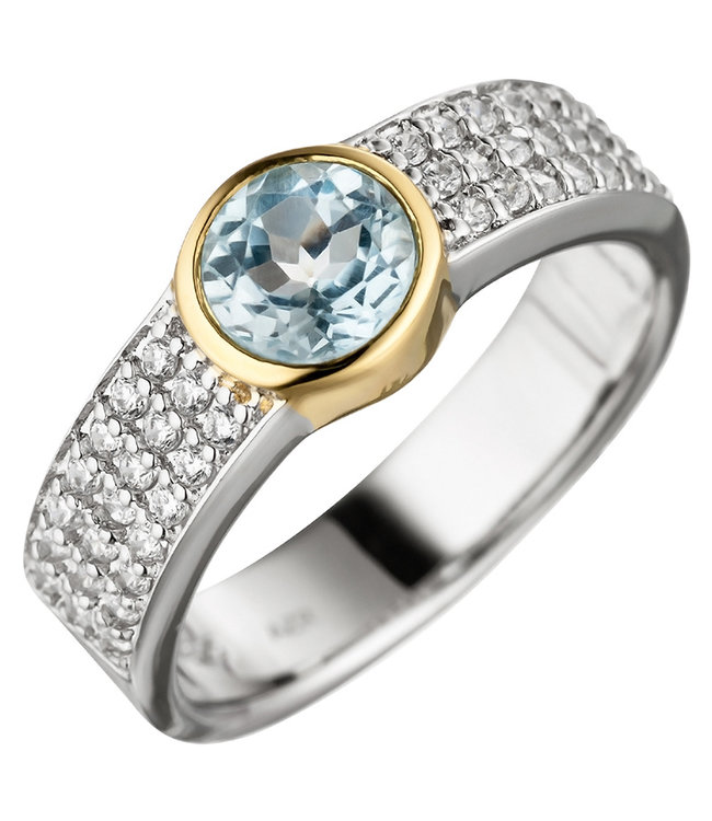 JOBO Silver ring (925) with blue topaz and zirconias