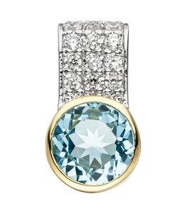 Aurora Patina Silber Kettenanhänger Blautopas und Zirkonia
