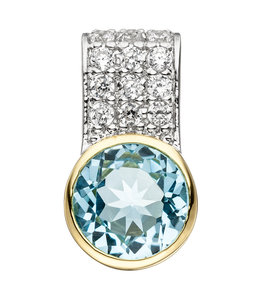 Aurora Patina Silver pendant Blue Topaz and zirconia