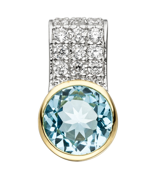 JOBO Sterling silver pendant (925) with Blue Topaz and zirconia