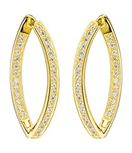 JOBO Earrings creoles gold plated silver with zirconia