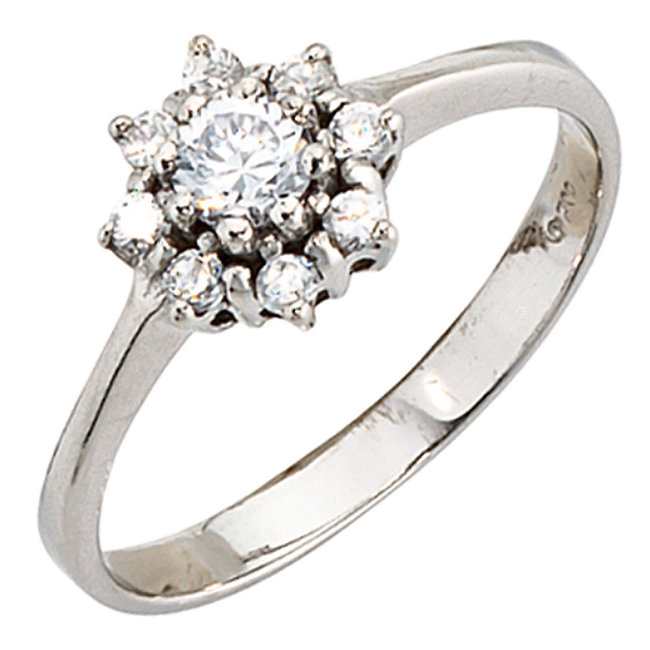 Sterling silver ring (925) with zirconias