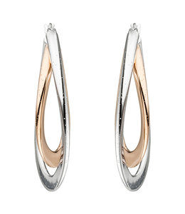 JOBO Earrings creoles Twisted in two color silver