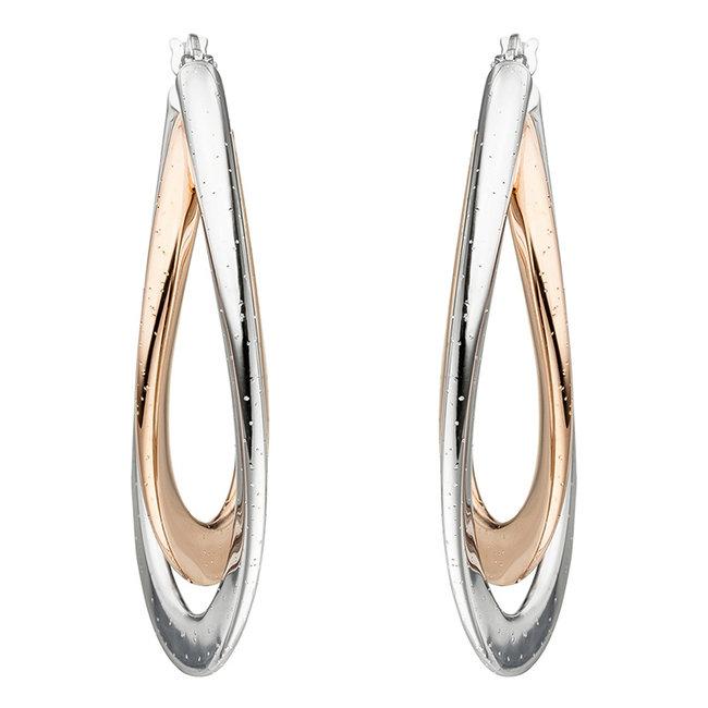 Creool oorbellen Twisted in 925 sterling zilver in twee kleuren