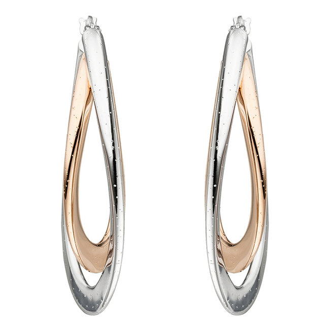 Hoop earrings Twisted in two color sterling silver