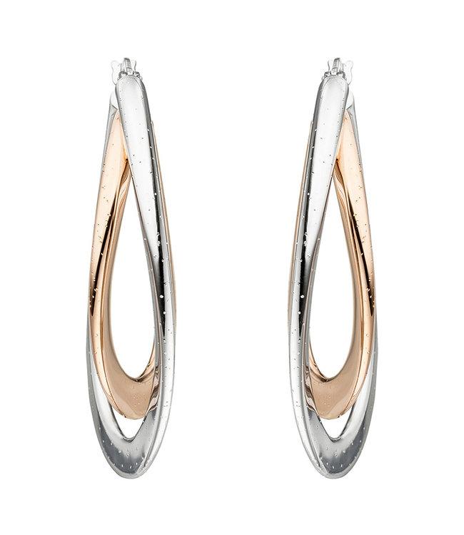 Aurora Patina Ohrringe Silbercreolen Twisted aus zweifarbigem Sterlingsilber