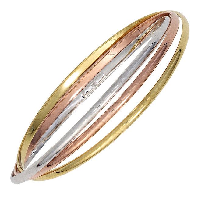 Armband van 925 sterling zilver in drie kleuren ringen