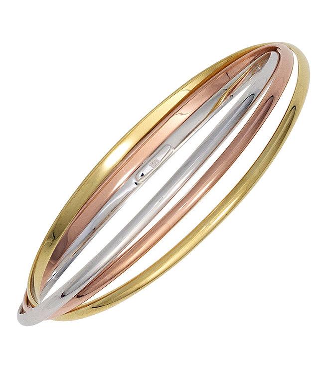 JOBO Armband van 925 sterling zilver in drie kleuren ringen