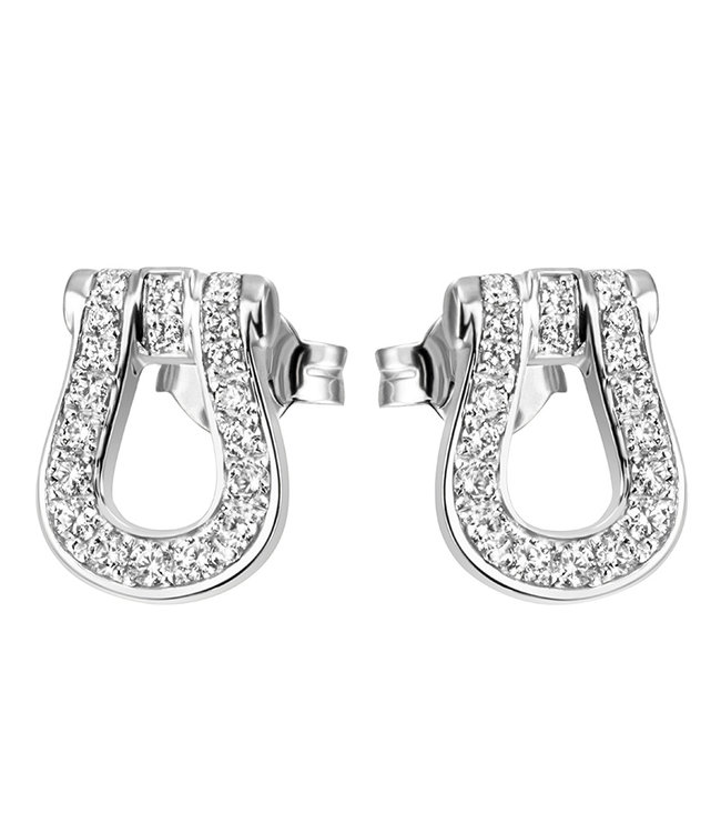 Aurora Patina Silver earrings studs (925) with zirconia