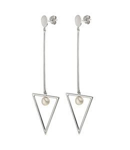 Aurora Patina Lange zilveren oorbellen 8,5 cm met zoetwaterparels