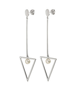 JOBO Long silver earrings 8.5 cm with freshwater pearls