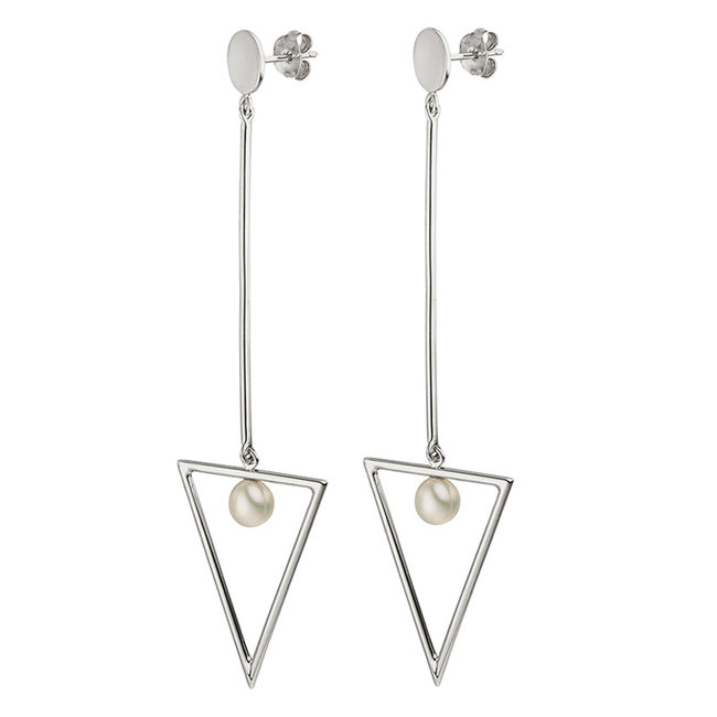 Aurora Patina Long silver earrings 8.5 cm with freshwater pearls