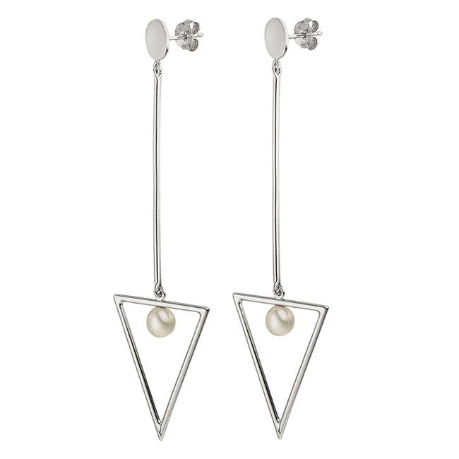 Lange zilveren oorbellen (925) met zoetwater parels
