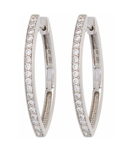 JOBO Silver earrings creoles oval with zirconia