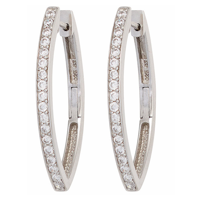 Oval hoop earrings in 925 sterling silver with zirconia