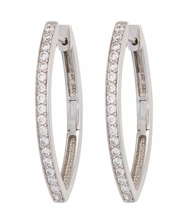 JOBO Oval hoop earrings in 925 sterling silver with zirconia
