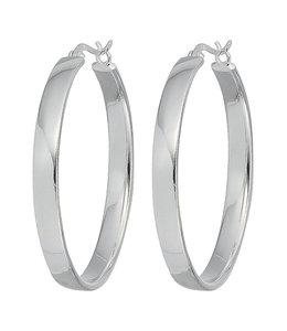 Aurora Patina Large hoop earrings silver 4 cm