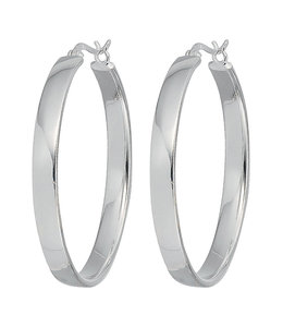 JOBO Large hoop earrings silver 4 cm