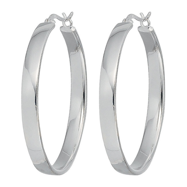 Aurora Patina Large hoop earrings silver 4 cm