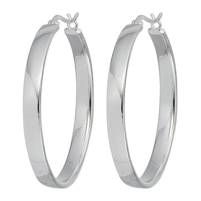 Large hoop earrings in 925 sterling silver 4 cm