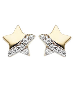 Aurora Patina Kids earrings studs Star Gold Zirconia