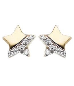 JOBO Kids earrings studs Star Gold Zirconia
