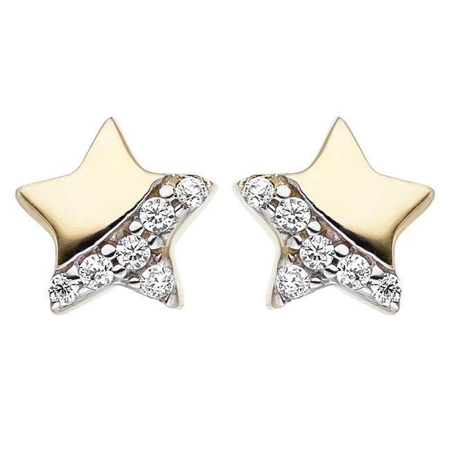 Aurora Patina Kinderohrstecker Stern  Gold 12 Zirkonia
