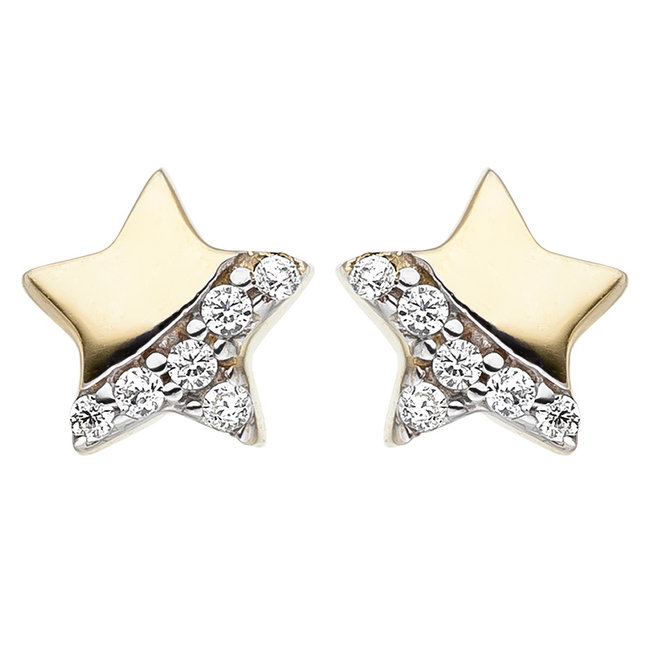 Kids earrings studs Star 375 Gold with Zirconia