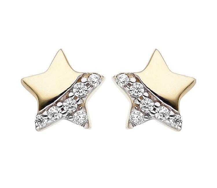 Kids earrings studs Star 375 Gold with Zirconia - Aurora Patina modern  jewellery