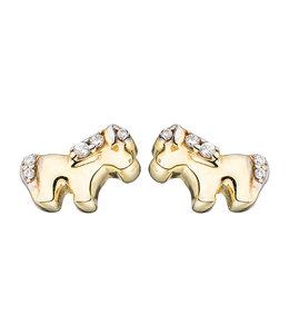 Aurora Patina Kids earrings studs Horses Gold Zirconia