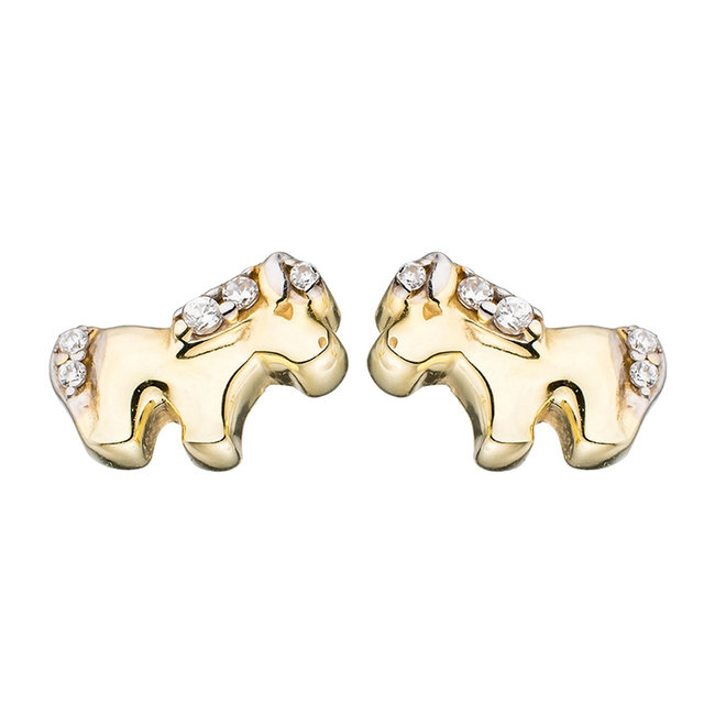 Kids earrings studs Horses 375 Gold with Zirconia
